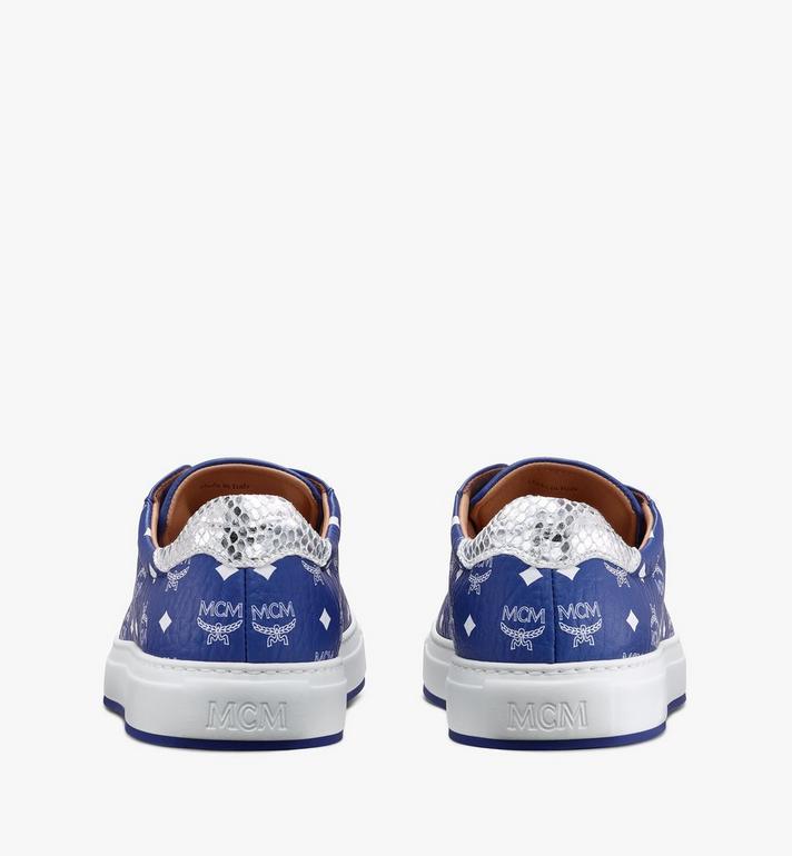 MCM Men's Low-Top Sneakers in Visetos Blue MEXASMM10H1043 Alternate View 3
