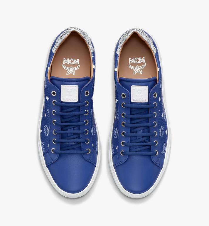 MCM Men's Low-Top Sneakers in Visetos Blue MEXASMM10H1043 Alternate View 5