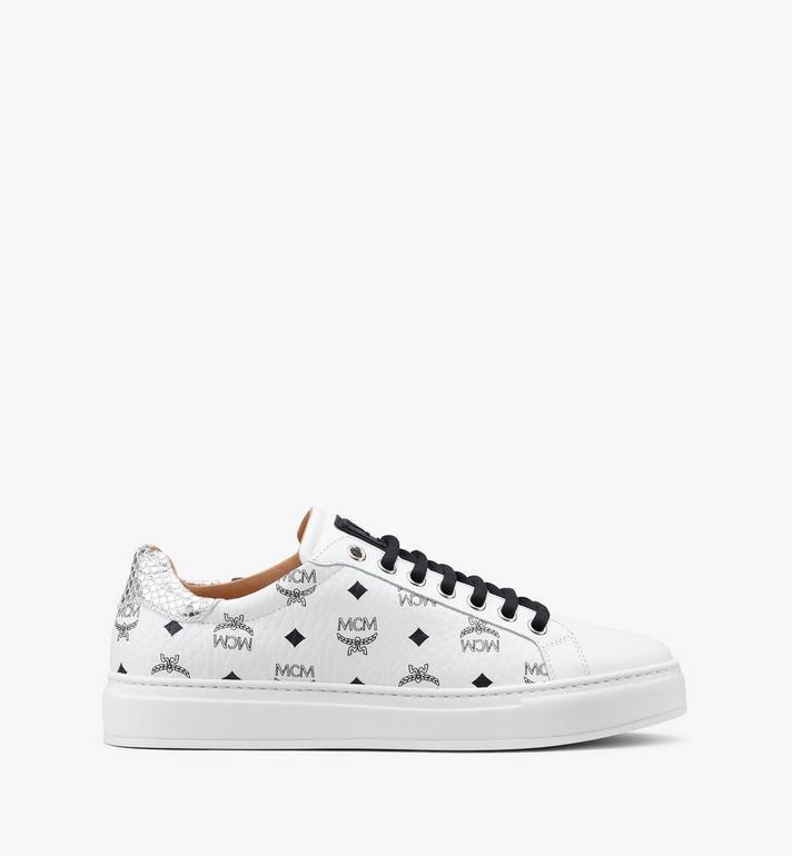 MCM Men's Low-Top Sneakers in Visetos White MEXASMM10WT041 Alternate View 2