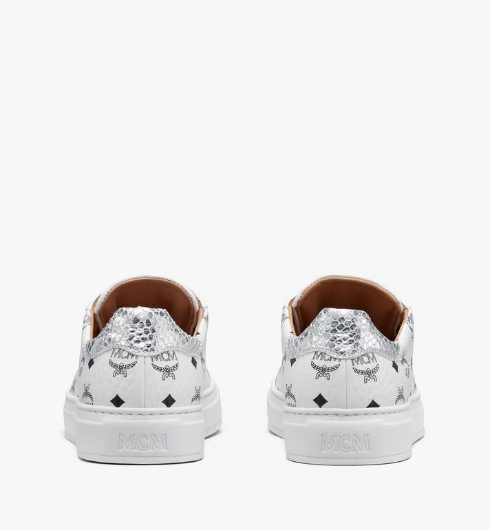 MCM Men's Low-Top Sneakers in Visetos White MEXASMM10WT041 Alternate View 3