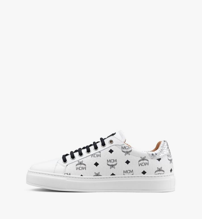MCM Men's Low-Top Sneakers in Visetos White MEXASMM10WT041 Alternate View 4