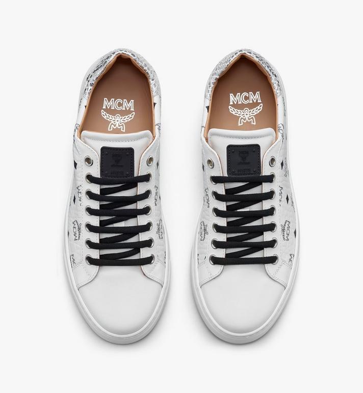 MCM Men's Low-Top Sneakers in Visetos White MEXASMM10WT041 Alternate View 5