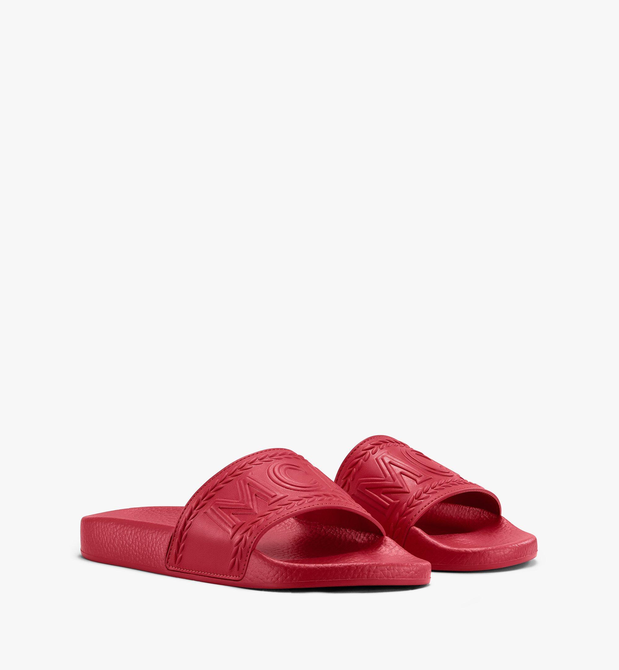 MCM 男士Big Logo拖鞋 Red MEXASMM21R4041 更多视角 1