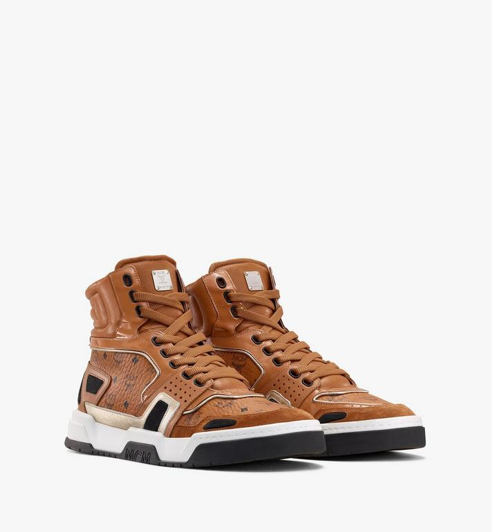 MCM Men's Skyward High-Top Sneakers in Visetos Cognac MEXASMM30CO042 Alternate View 1
