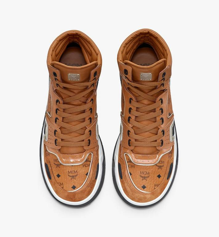 MCM Men's Skyward High-Top Sneakers in Visetos Cognac MEXASMM30CO042 Alternate View 5