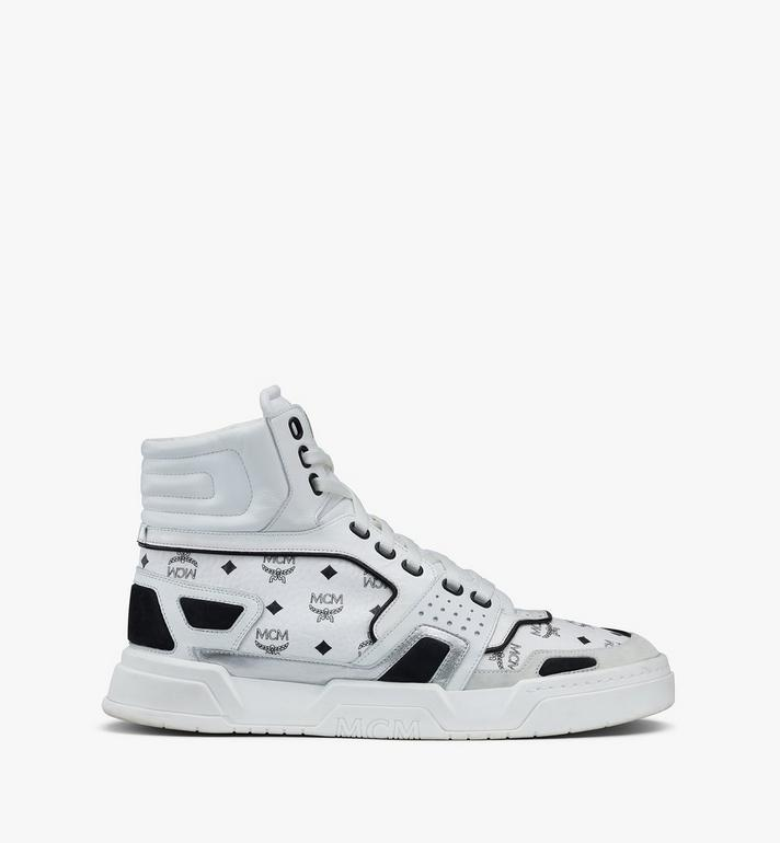 MCM Men's Skyward High-Top Sneakers in Visetos White MEXASMM30WT042 Alternate View 2