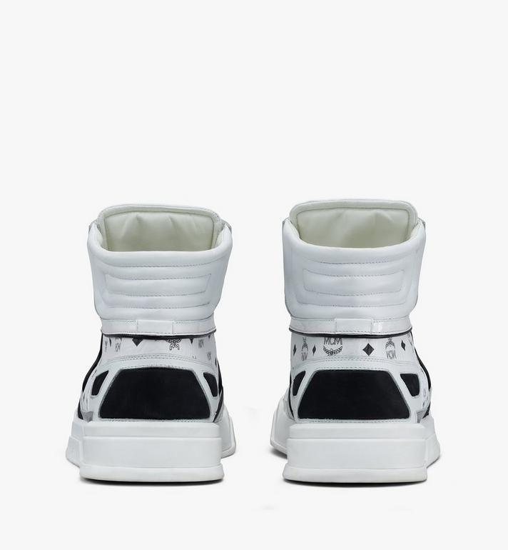 MCM Men's Skyward High-Top Sneakers in Visetos White MEXASMM30WT042 Alternate View 3