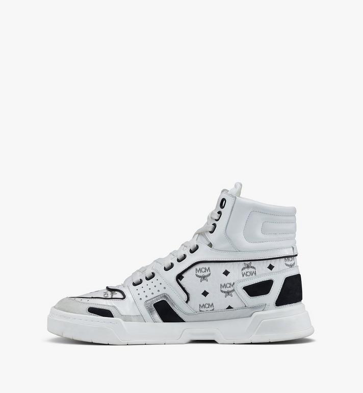 MCM Men's Skyward High-Top Sneakers in Visetos White MEXASMM30WT042 Alternate View 4