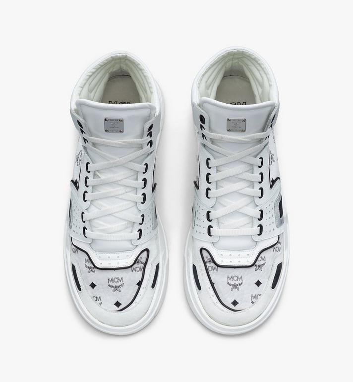 MCM Men's Skyward High-Top Sneakers in Visetos White MEXASMM30WT042 Alternate View 5