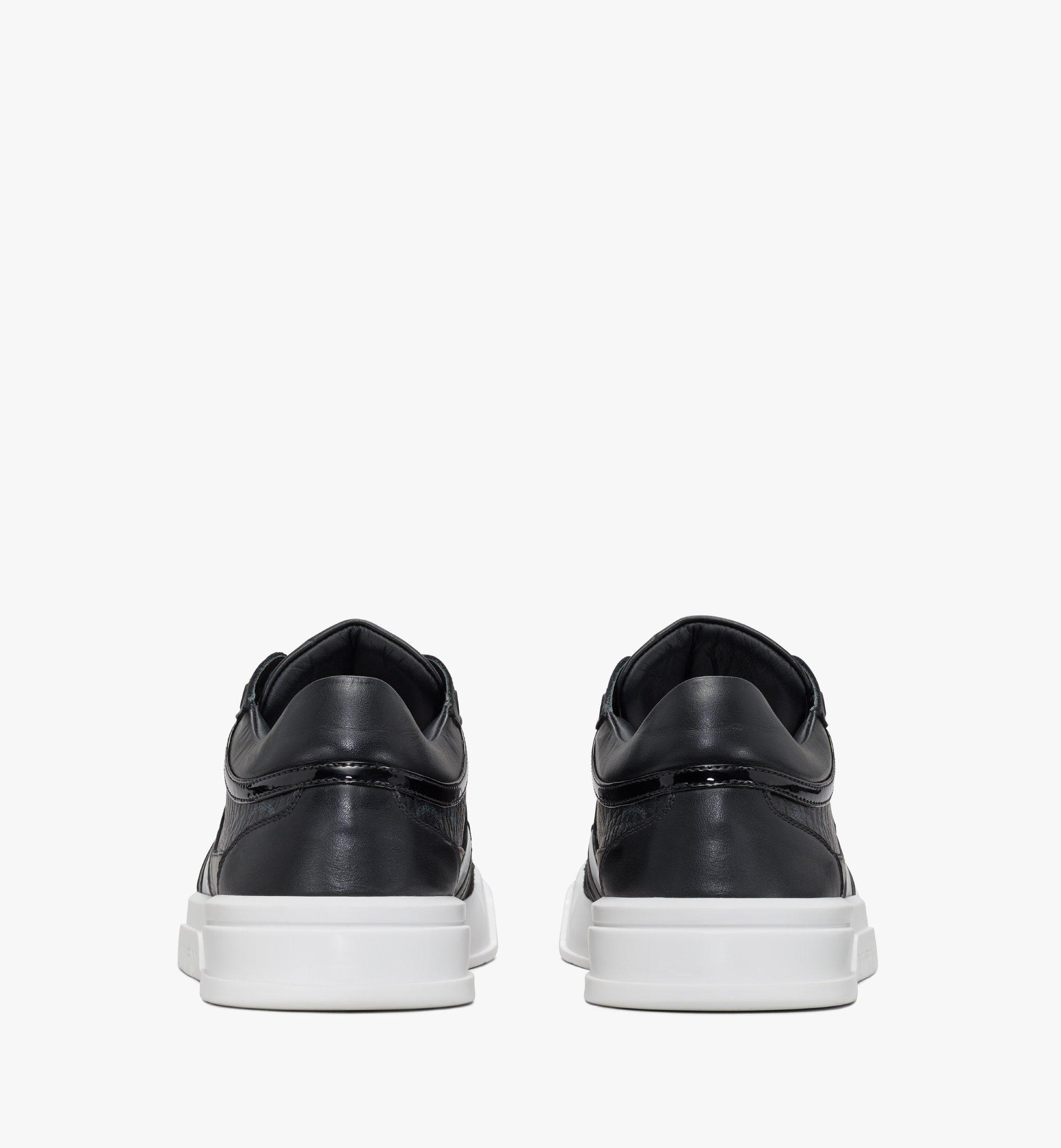 MCM Men's Skyward Lo Sneakers in Visetos Black MEXASMM37BK042 Alternate View 3