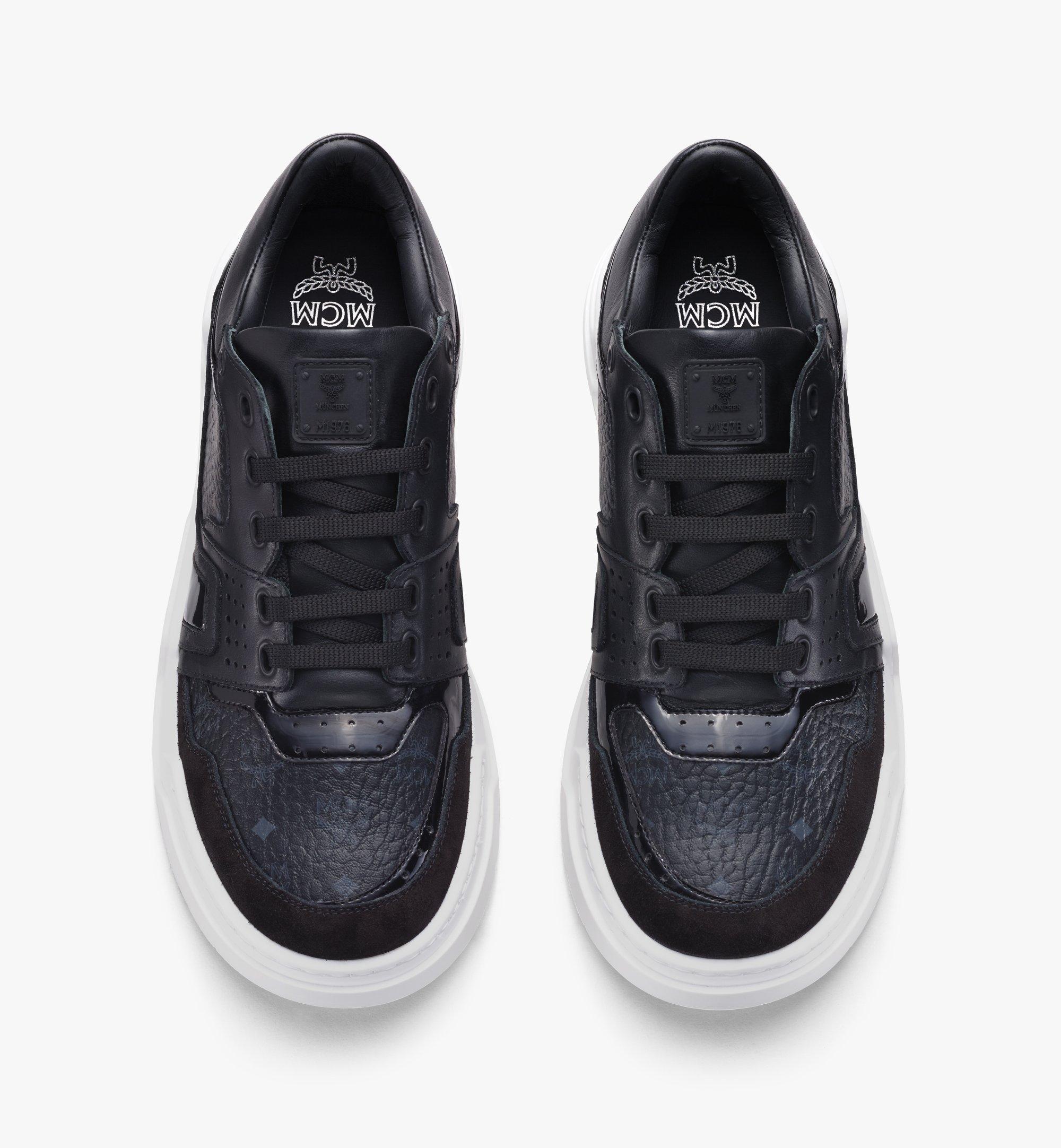 MCM Men's Skyward Lo Sneakers in Visetos Black MEXASMM37BK042 Alternate View 5