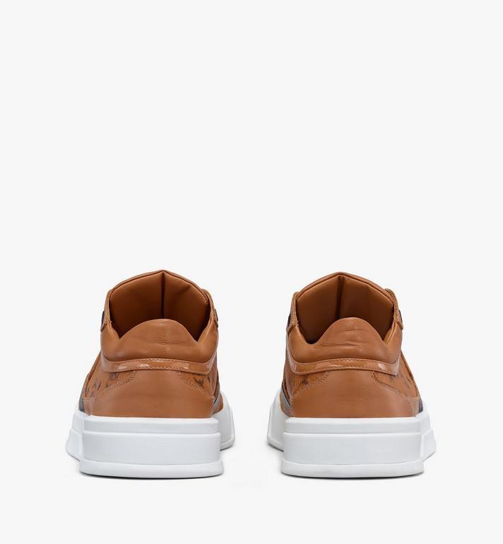 MCM Men's Skyward Low-Top Sneakers in Visetos Cognac MEXASMM37CO042 Alternate View 3