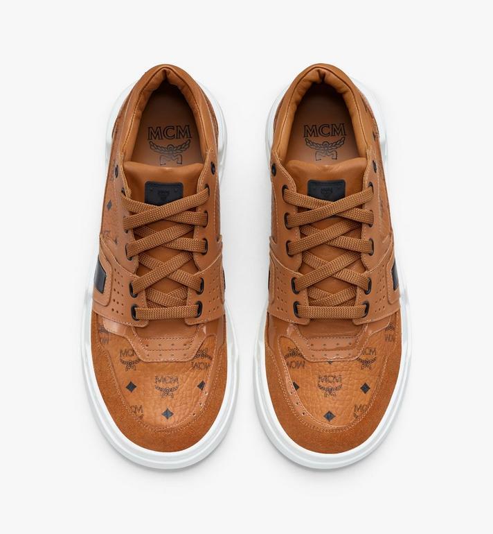 MCM Men's Skyward Low-Top Sneakers in Visetos Cognac MEXASMM37CO042 Alternate View 5