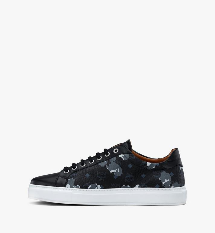 MCM Men's Low-Top Sneakers in Floral Leopard Black MEXASSE04B1041 Alternate View 4