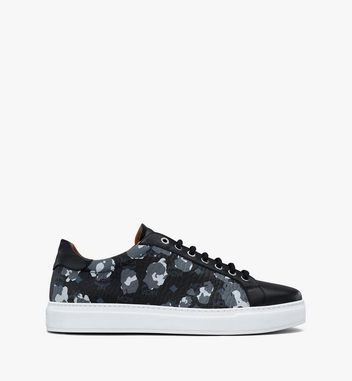 MCM Men's Low-Top Sneakers in Floral Leopard Black MEXASSE04B1044 Alternate View 2