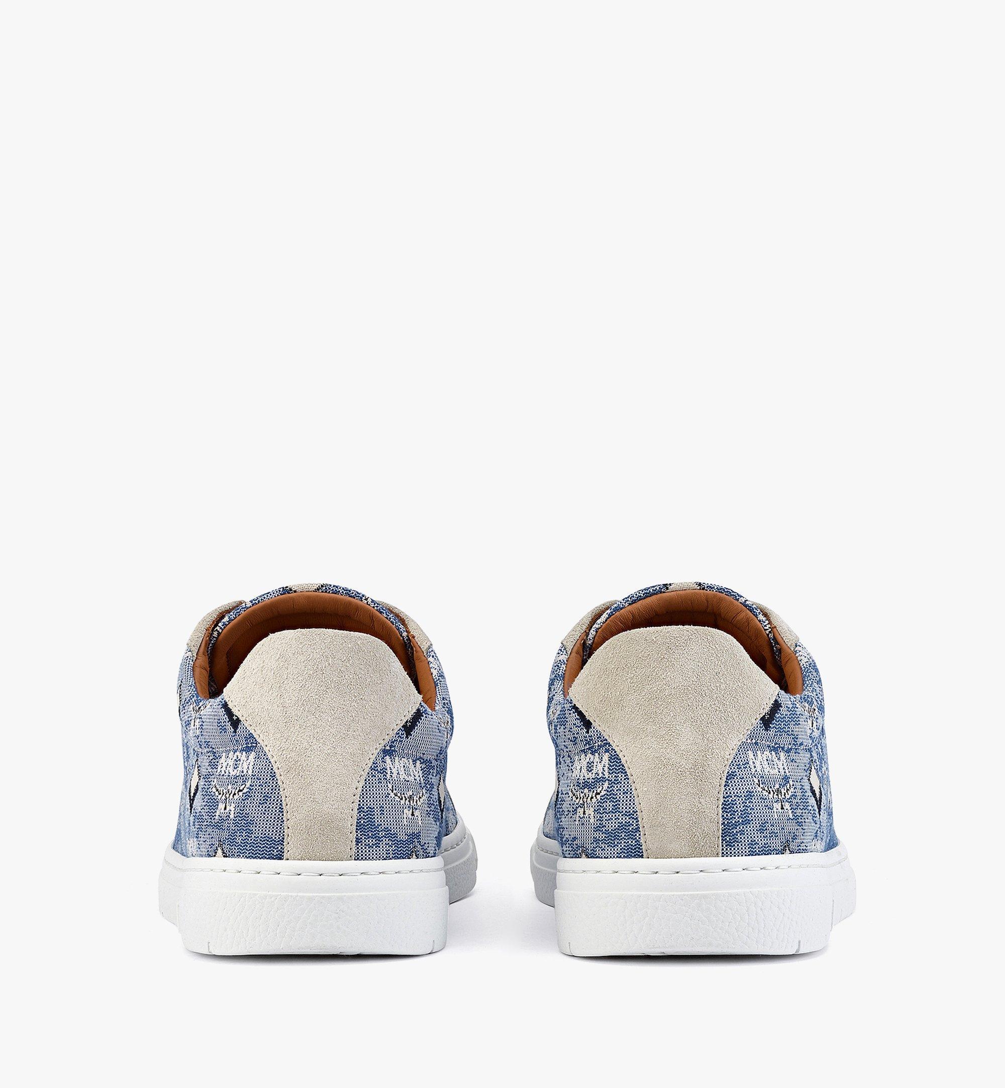 MCM Men's Terrain Lo Sneakers in Vintage Jacquard Monogram Blue MEXBATQ01LU040 Alternate View 2