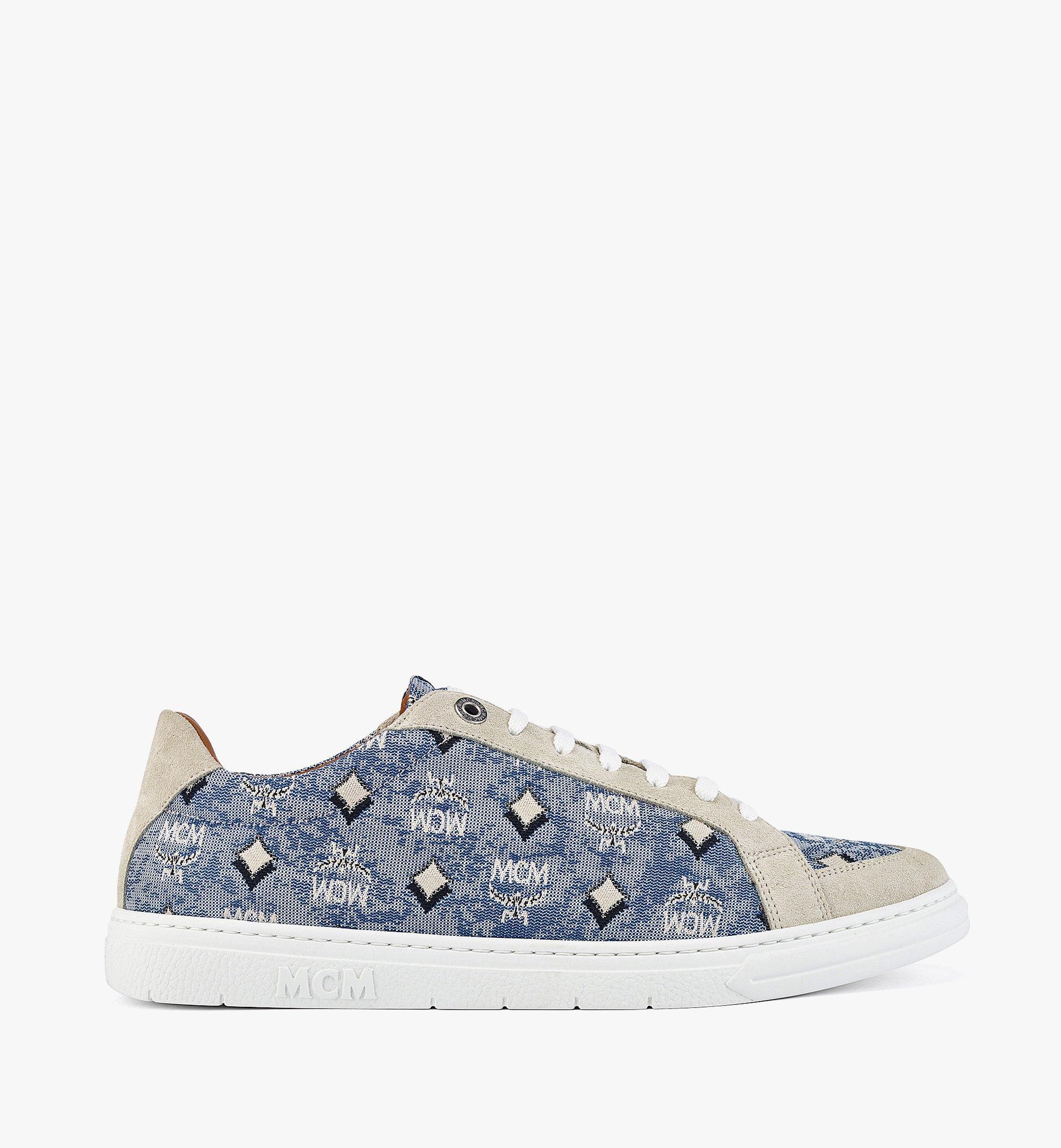 MCM Men's Terrain Lo Sneakers in Vintage Jacquard Monogram Blue MEXBATQ01LU040 Alternate View 3