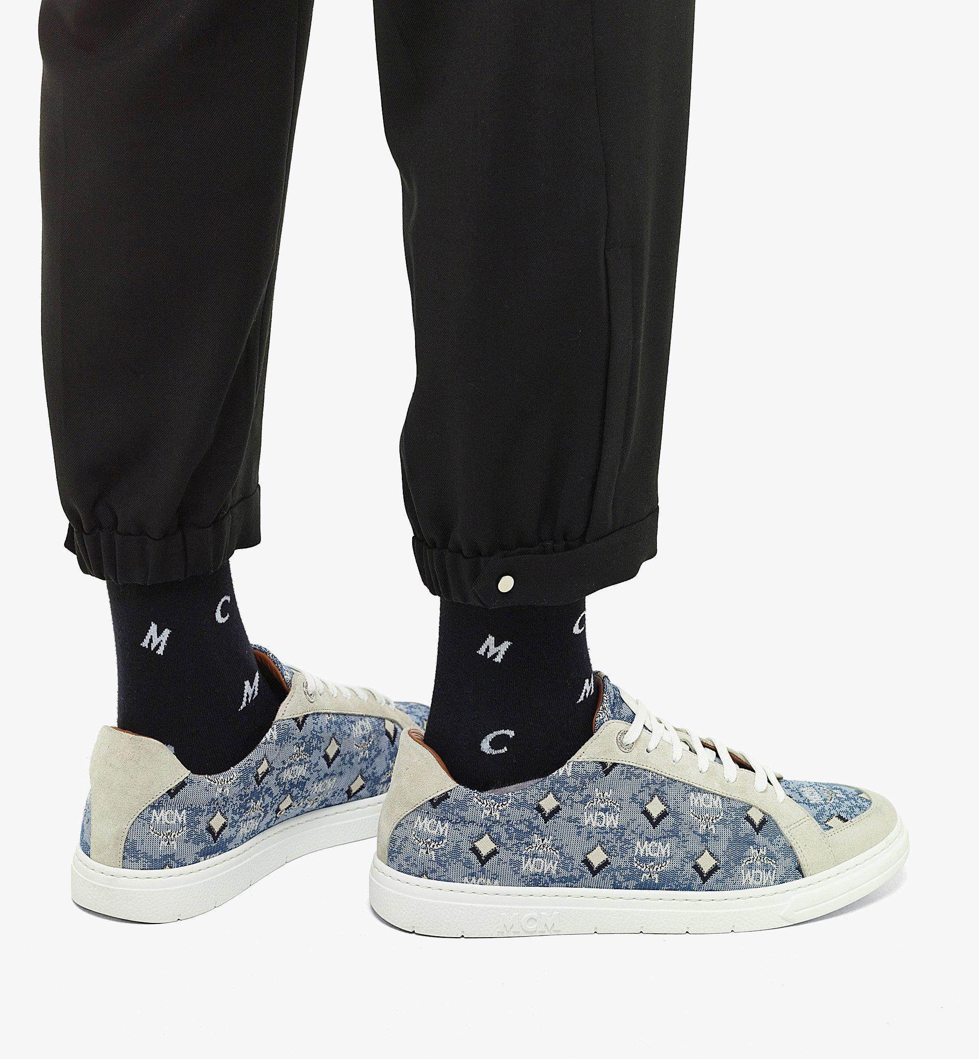 MCM Men's Terrain Lo Sneakers in Vintage Jacquard Monogram Blue MEXBATQ01LU041 Alternate View 2