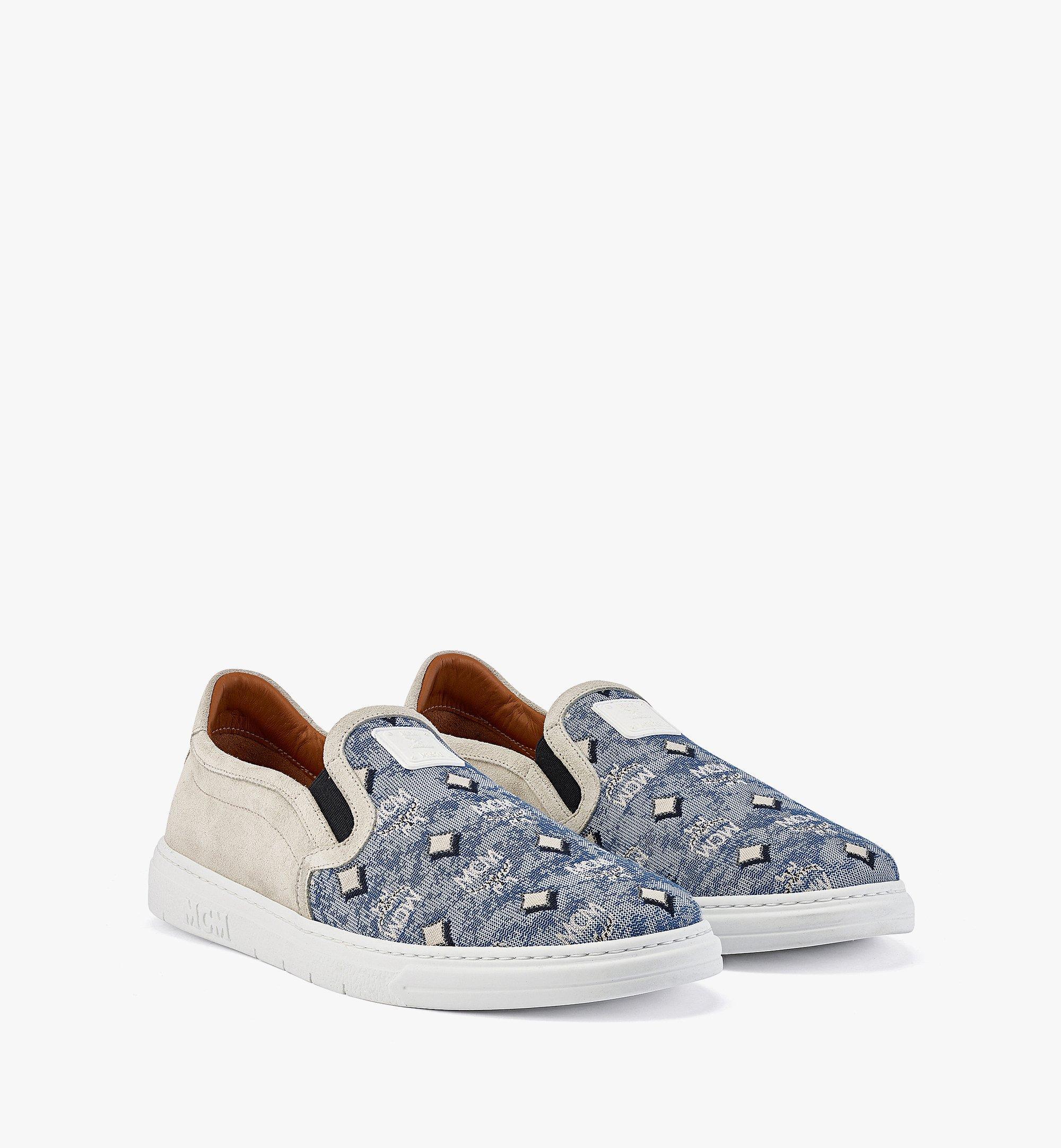 MCM Men's Slip-on Sneakers in Vintage Jacquard Monogram Blue MEXBATQ03LU041 Alternate View 1