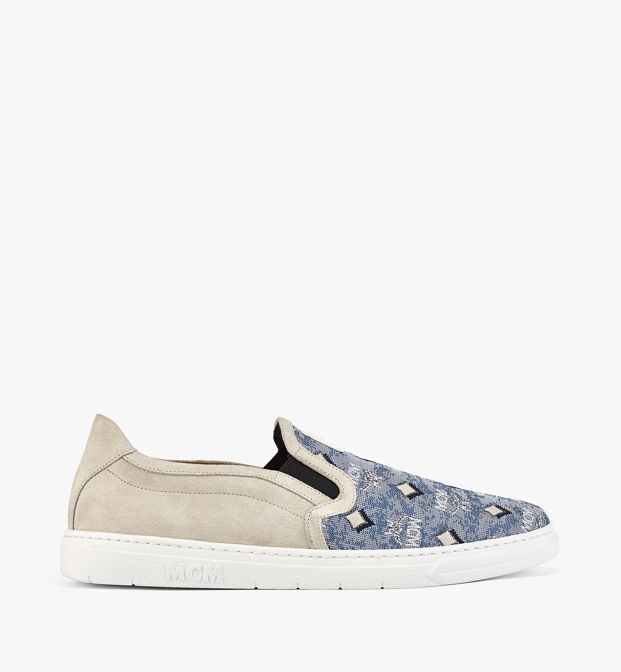 MCM Men's Slip-on Sneakers in Vintage Jacquard Monogram Blue MEXBATQ03LU041 Alternate View 3
