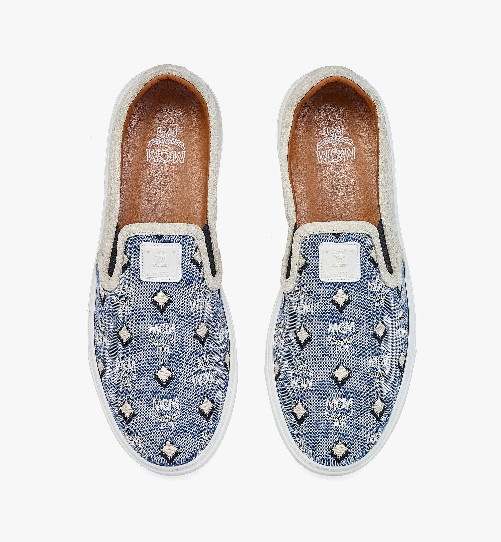 MCM Men's Slip-on Sneakers in Vintage Jacquard Monogram Blue MEXBATQ03LU041 Alternate View 4