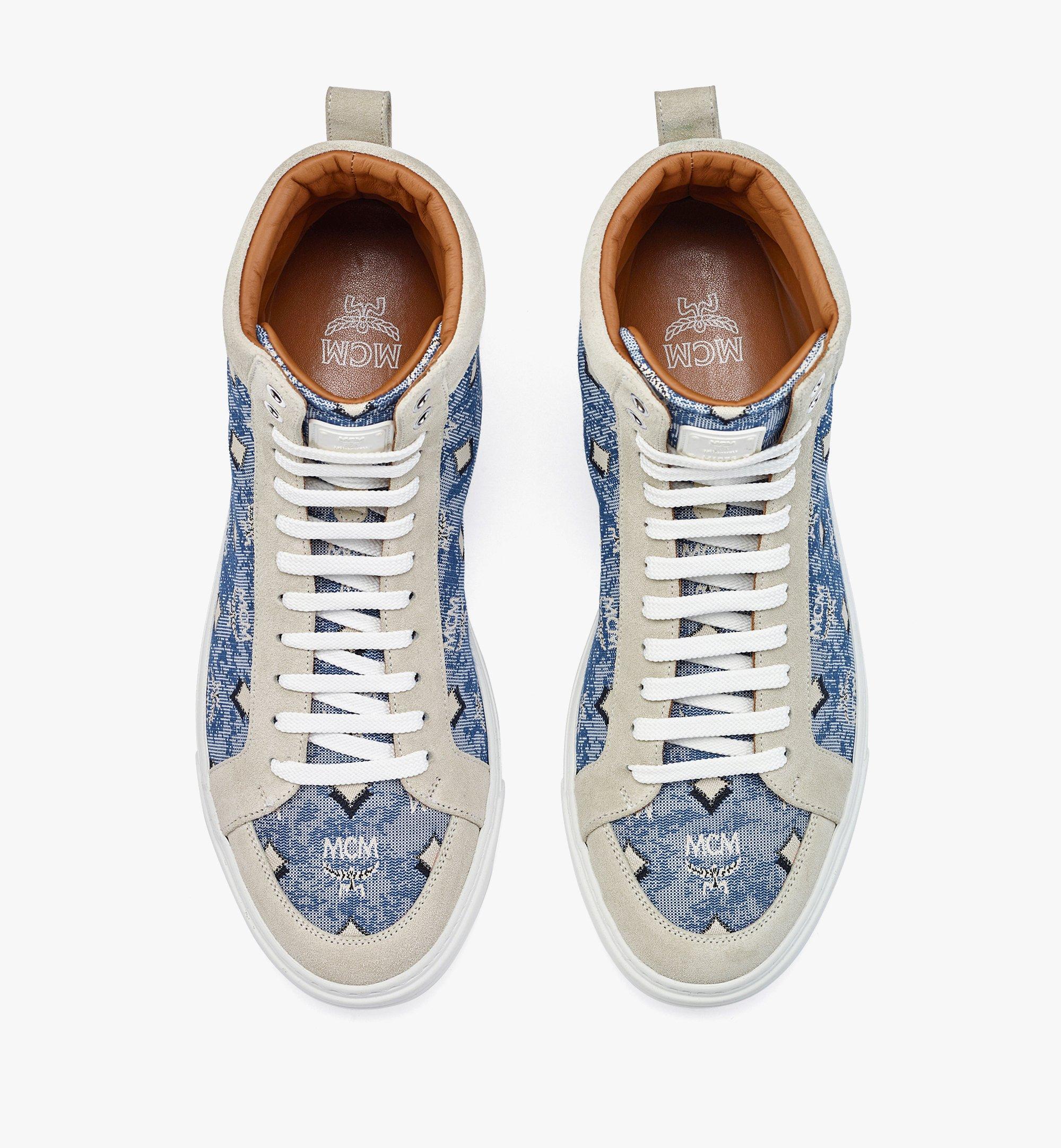 MCM Men's Terrain Hi Sneakers in Vintage Jacquard Monogram Blue MEXBATQ04LU042 Alternate View 4