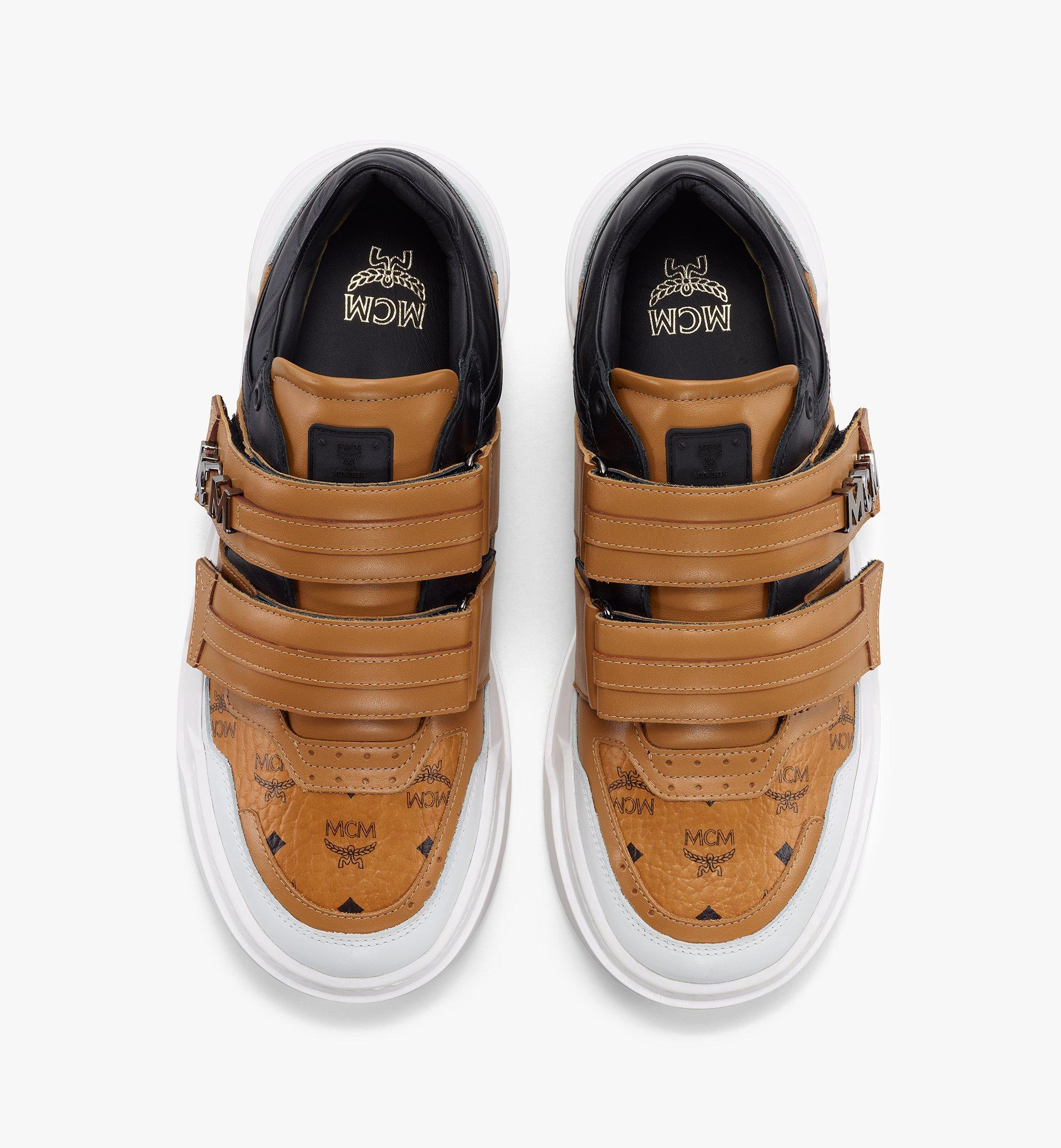 MCM Men's Skyward Velcro Lo Sneakers in Visetos Cognac MEXBSMM01CO040 Alternate View 4