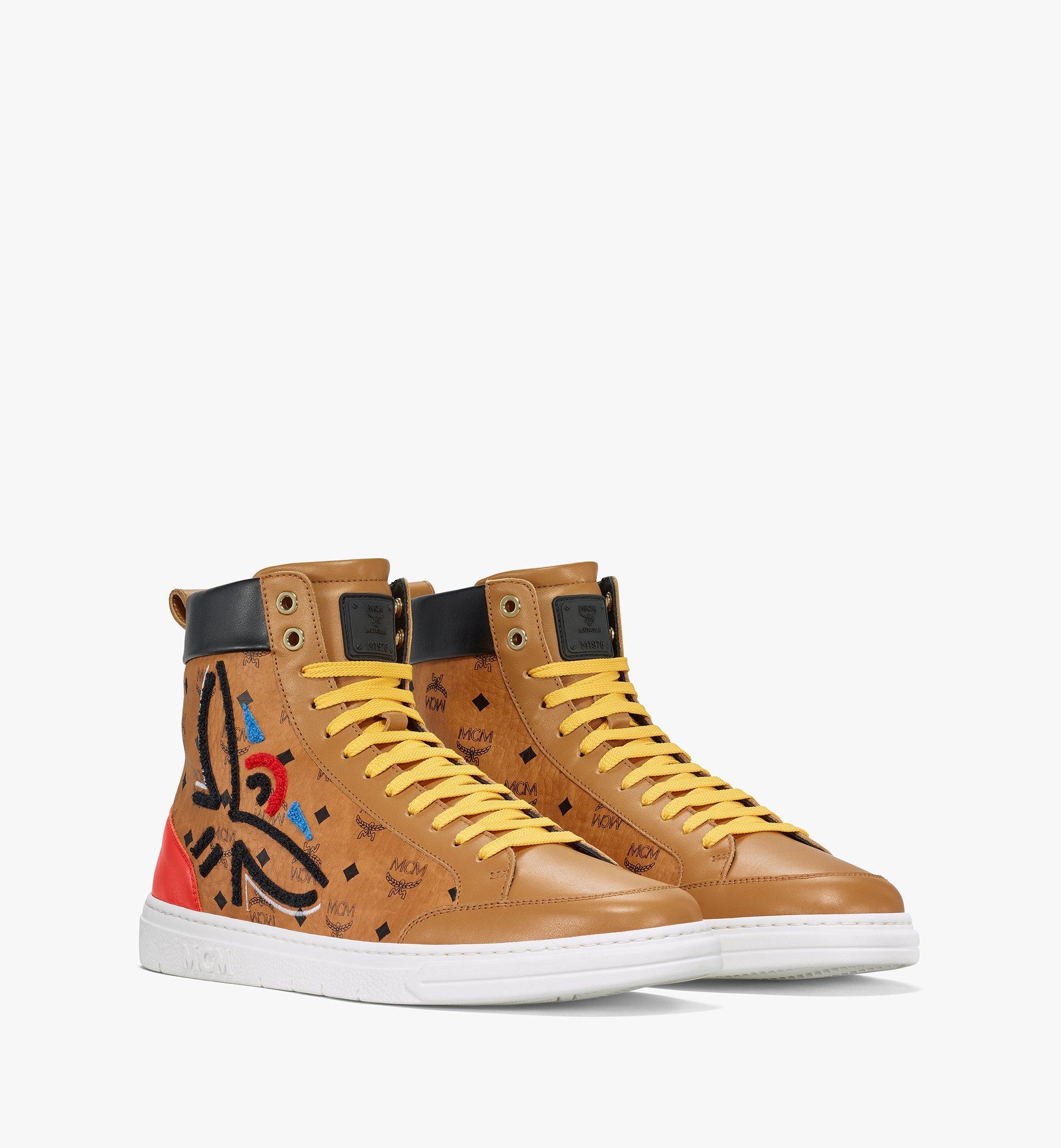 MCM Men's Terrain Hi Sneakers in Geo Laurel Visetos Cognac MEXBSMM05CO041 Alternate View 1
