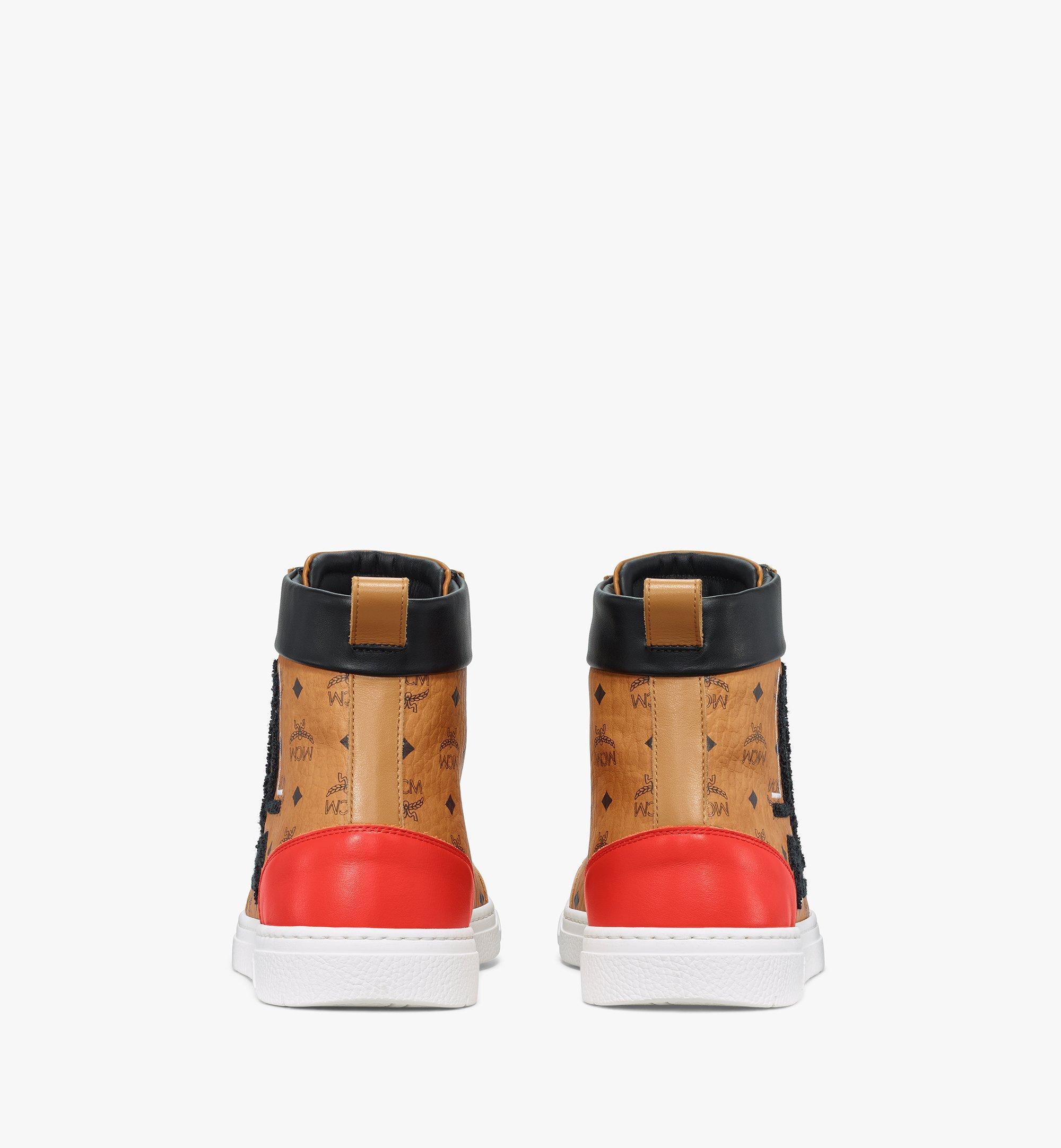 MCM Men's Terrain Hi Sneakers in Geo Laurel Visetos Cognac MEXBSMM05CO041 Alternate View 2