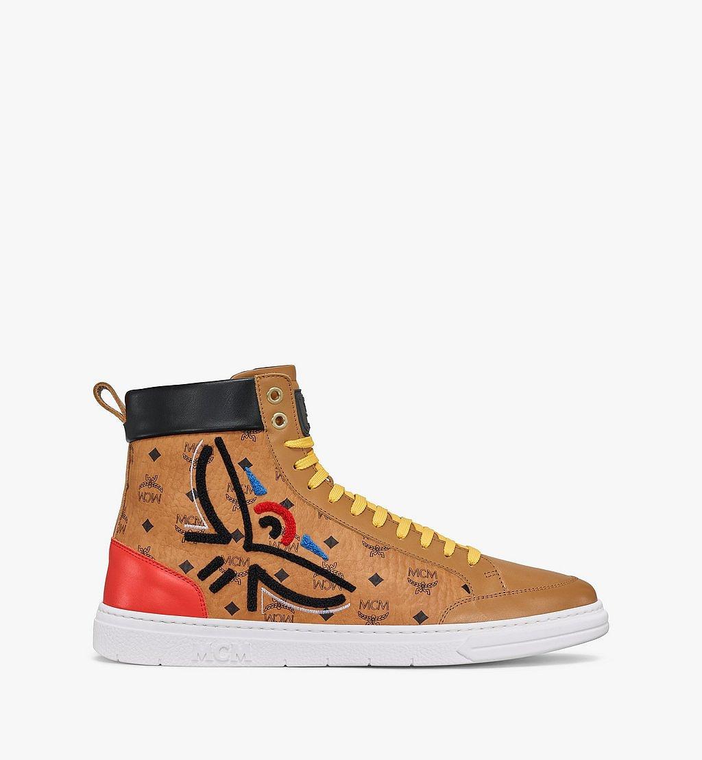 MCM Men's Terrain Hi Sneakers in Geo Laurel Visetos Cognac MEXBSMM05CO041 Alternate View 3