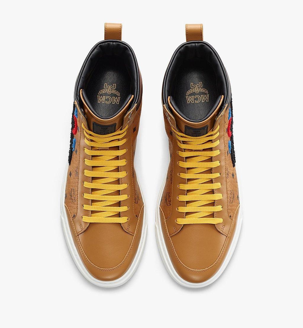 MCM Men's Terrain Hi Sneakers in Geo Laurel Visetos Cognac MEXBSMM05CO041 Alternate View 4