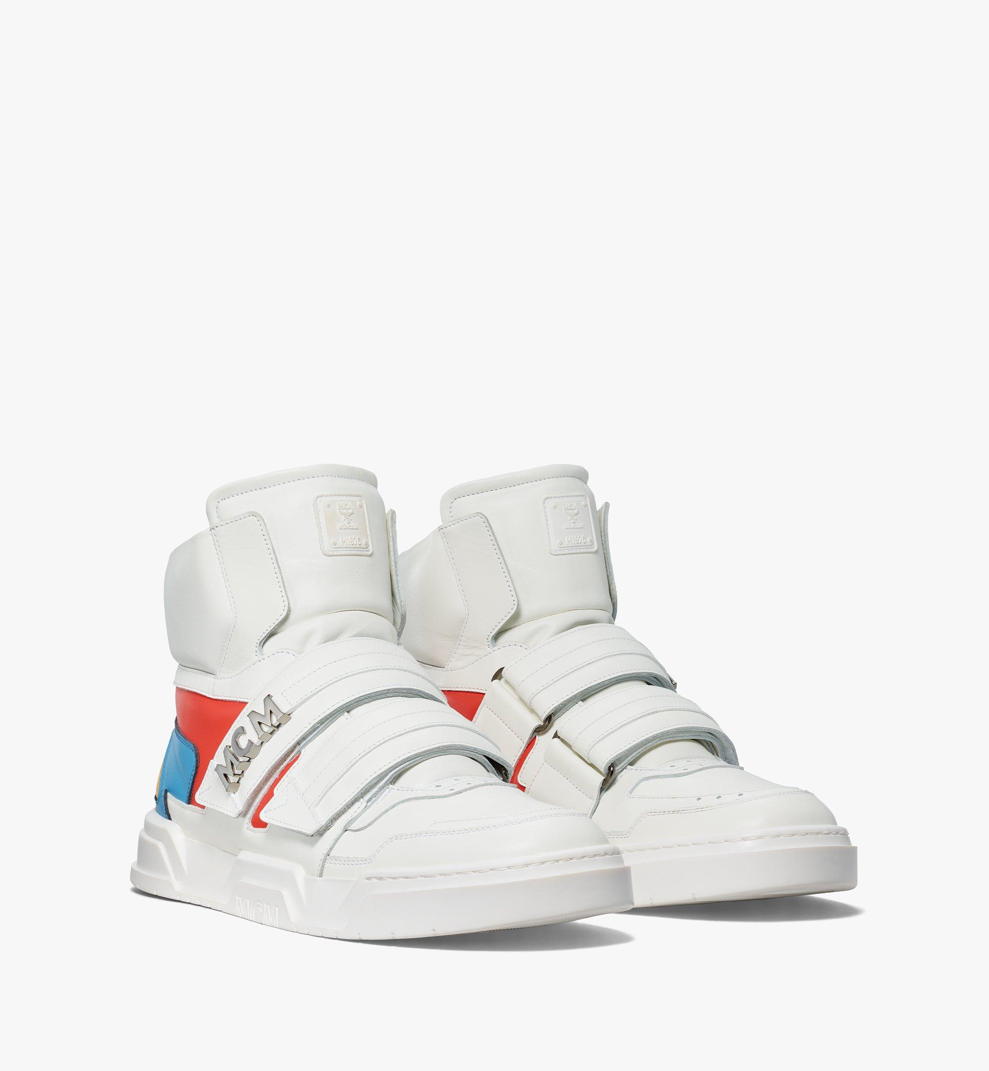 MCM Men's Skyward Velcro Hi Sneakers in Geo Color Block Leather White MEXBSMM07WO041 Alternate View 1