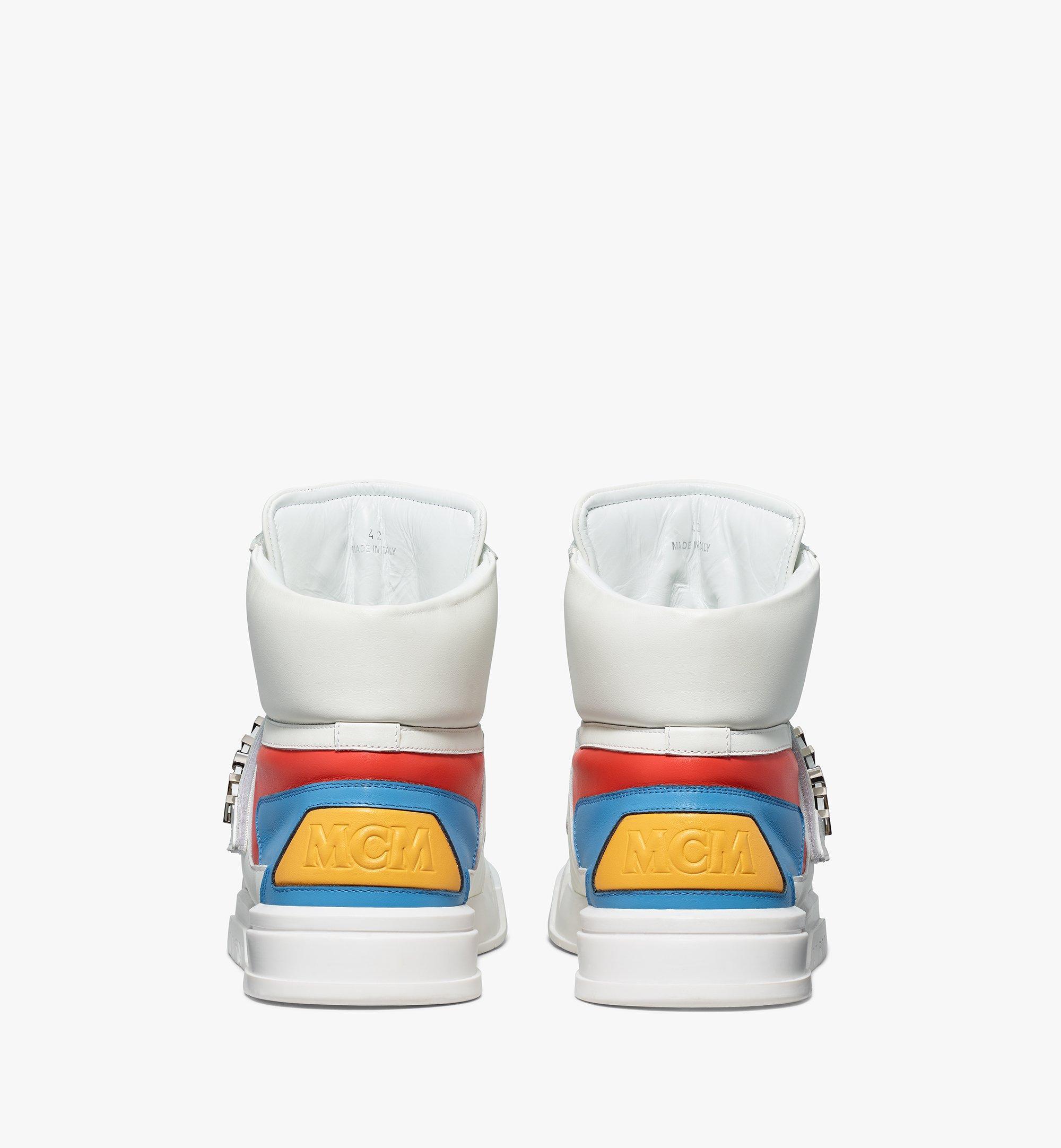 MCM Men's Skyward Velcro Hi Sneakers in Geo Color Block Leather White MEXBSMM07WO041 Alternate View 2