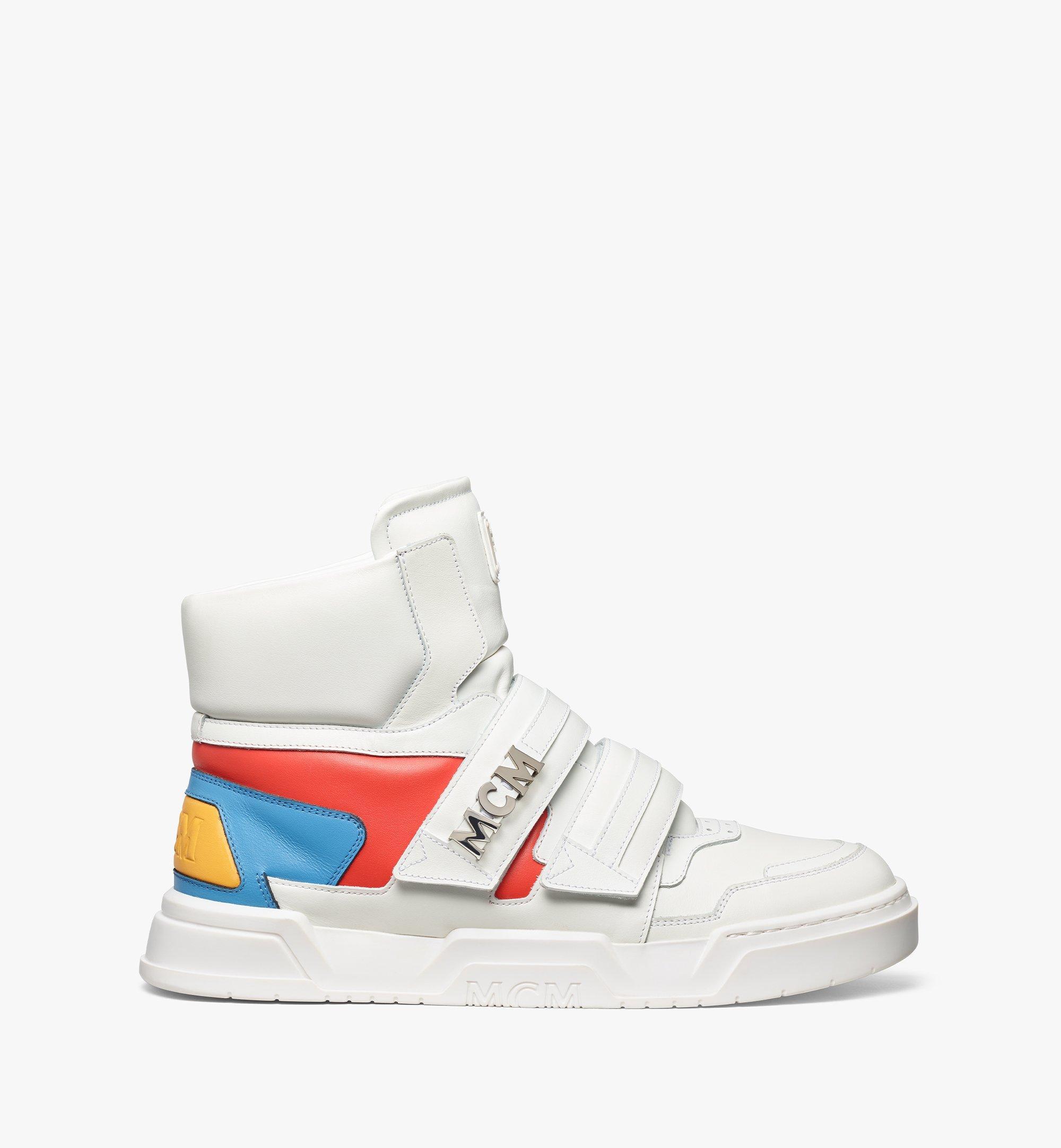 MCM Men's Skyward Velcro Hi Sneakers in Geo Color Block Leather White MEXBSMM07WO041 Alternate View 3