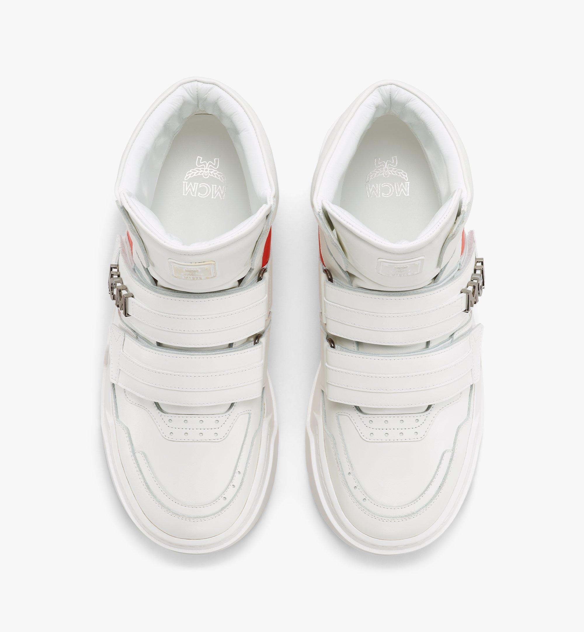 MCM Men's Skyward Velcro Hi Sneakers in Geo Color Block Leather White MEXBSMM07WO041 Alternate View 4