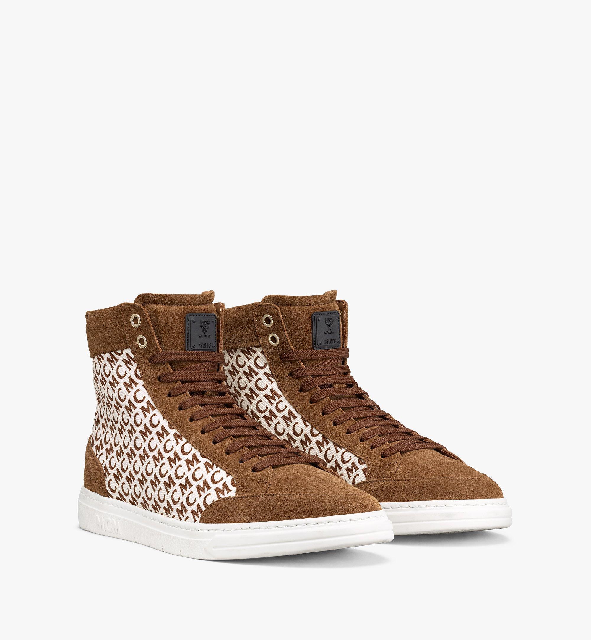MCM Men's Terrain Hi Sneakers in Diagonal Monogram Canvas Brown MEXBSMM08N7041 Alternate View 1