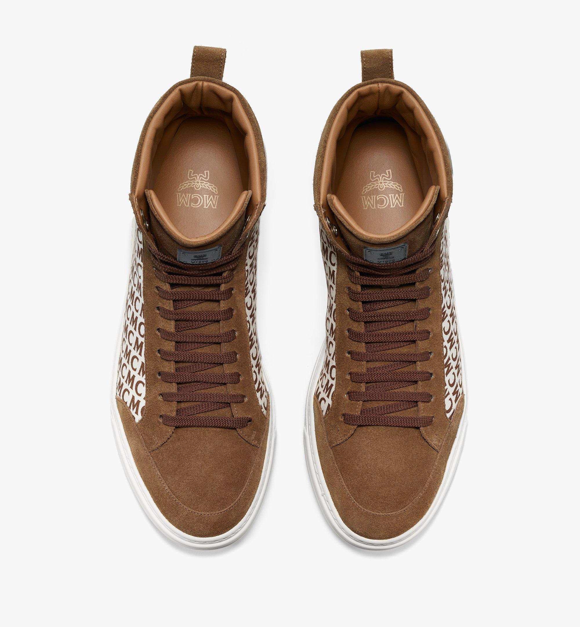 MCM Men's Terrain Hi Sneakers in Diagonal Monogram Canvas Brown MEXBSMM08N7041 Alternate View 4