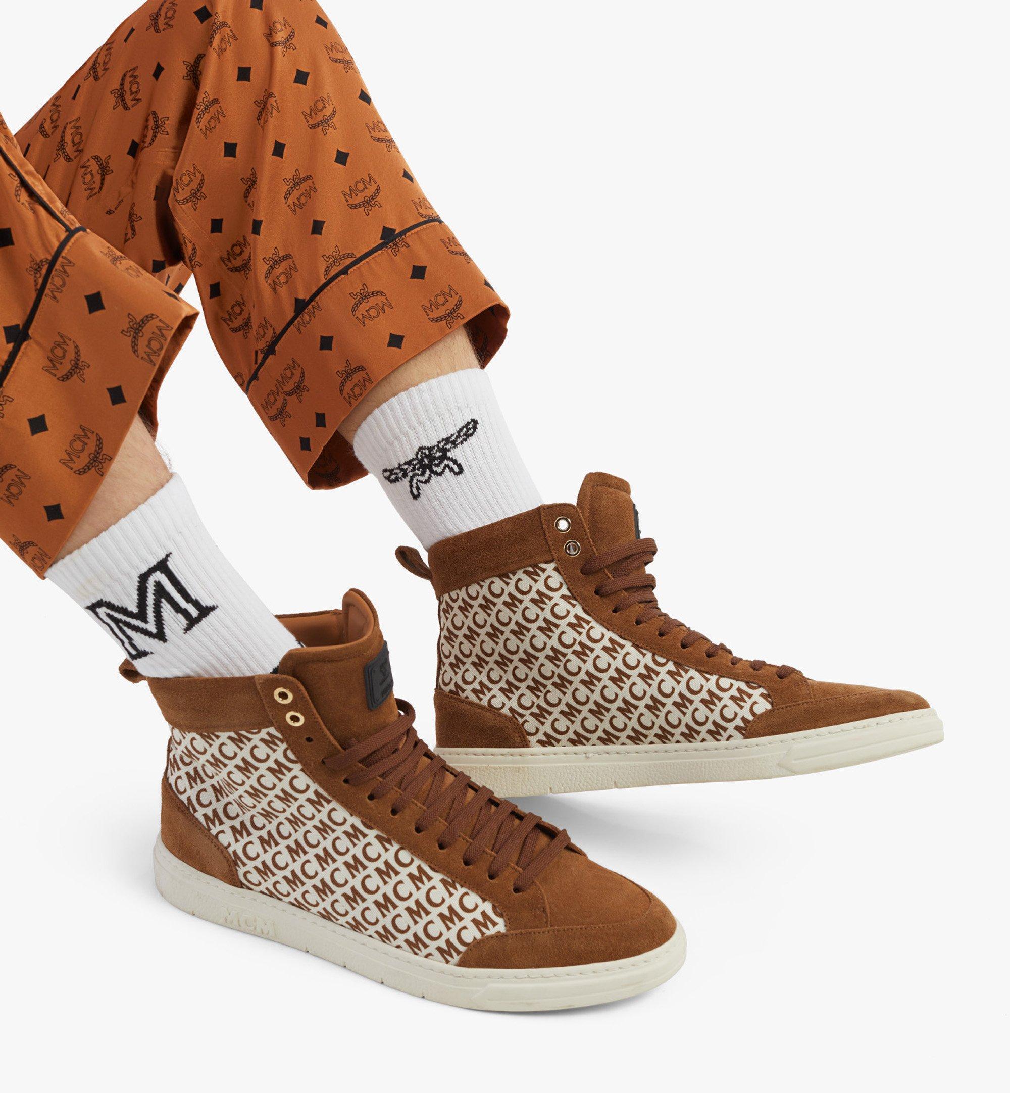 MCM Men's Terrain Hi Sneakers in Diagonal Monogram Canvas Brown MEXBSMM08N7041 Alternate View 2