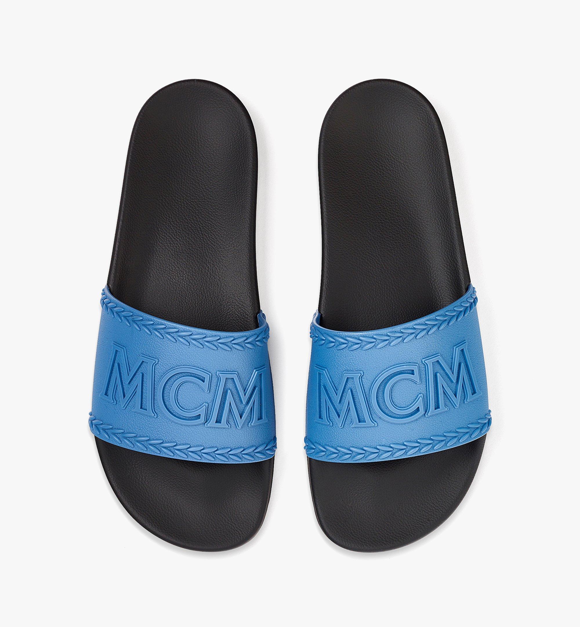 MCM Men's Big Logo Rubber Slides Blue MEXBSMM13H9042 Alternate View 4