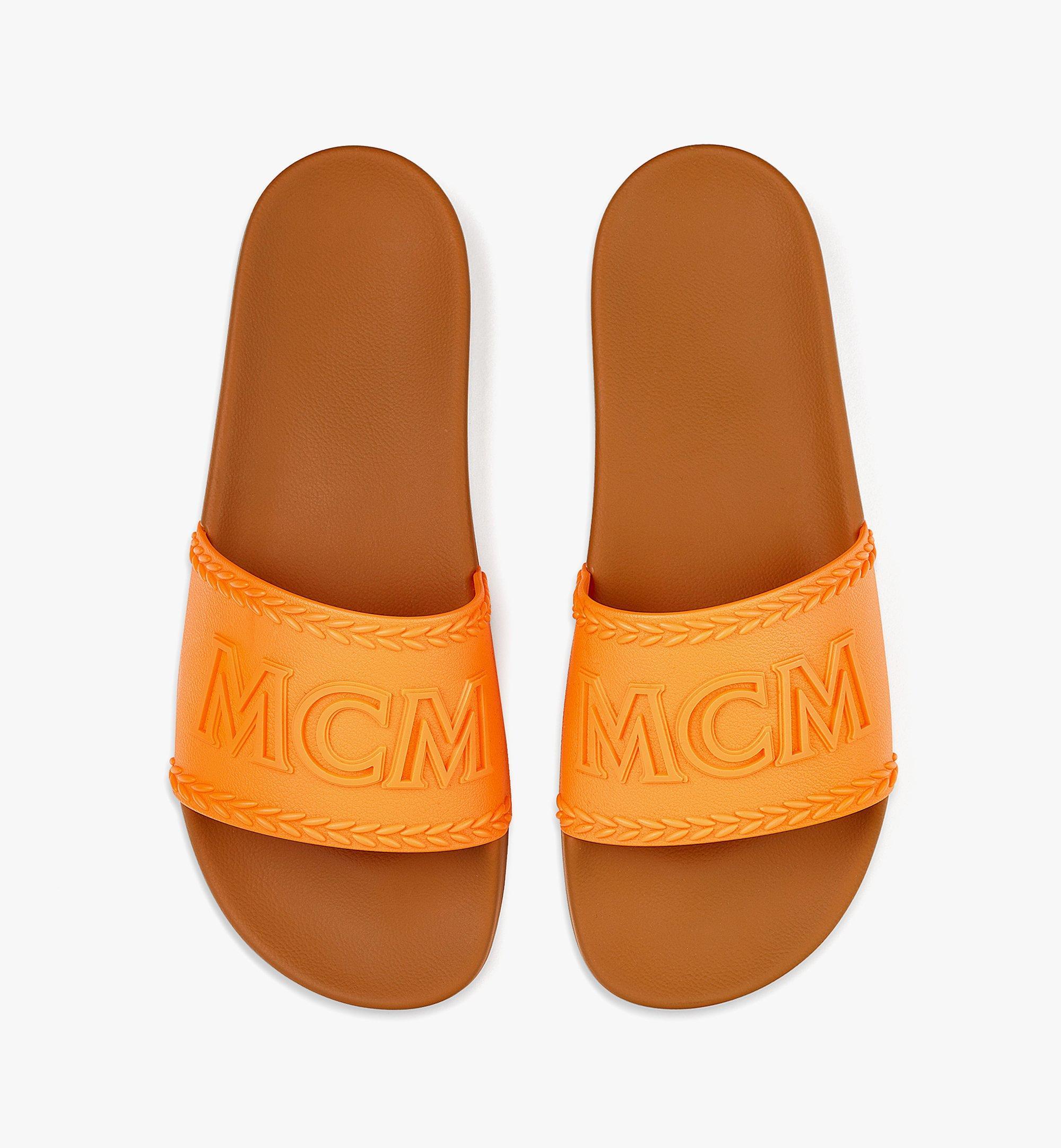 MCM Men's Big Logo Rubber Slides Orange MEXBSMM13O9043 Alternate View 4