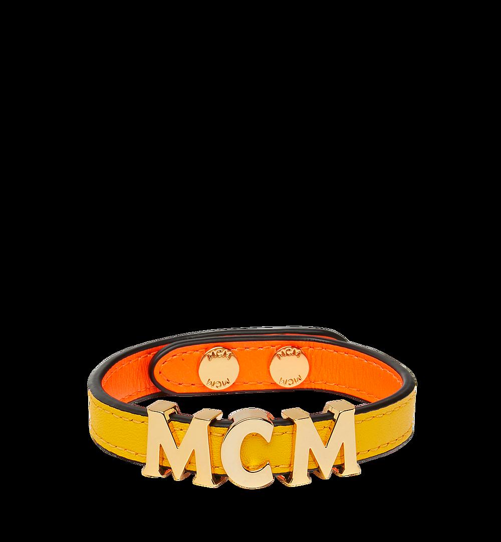 MCM Reversible Letter Bracelet in Leather Orange MEZ9SMM04OW001 Alternate View 1