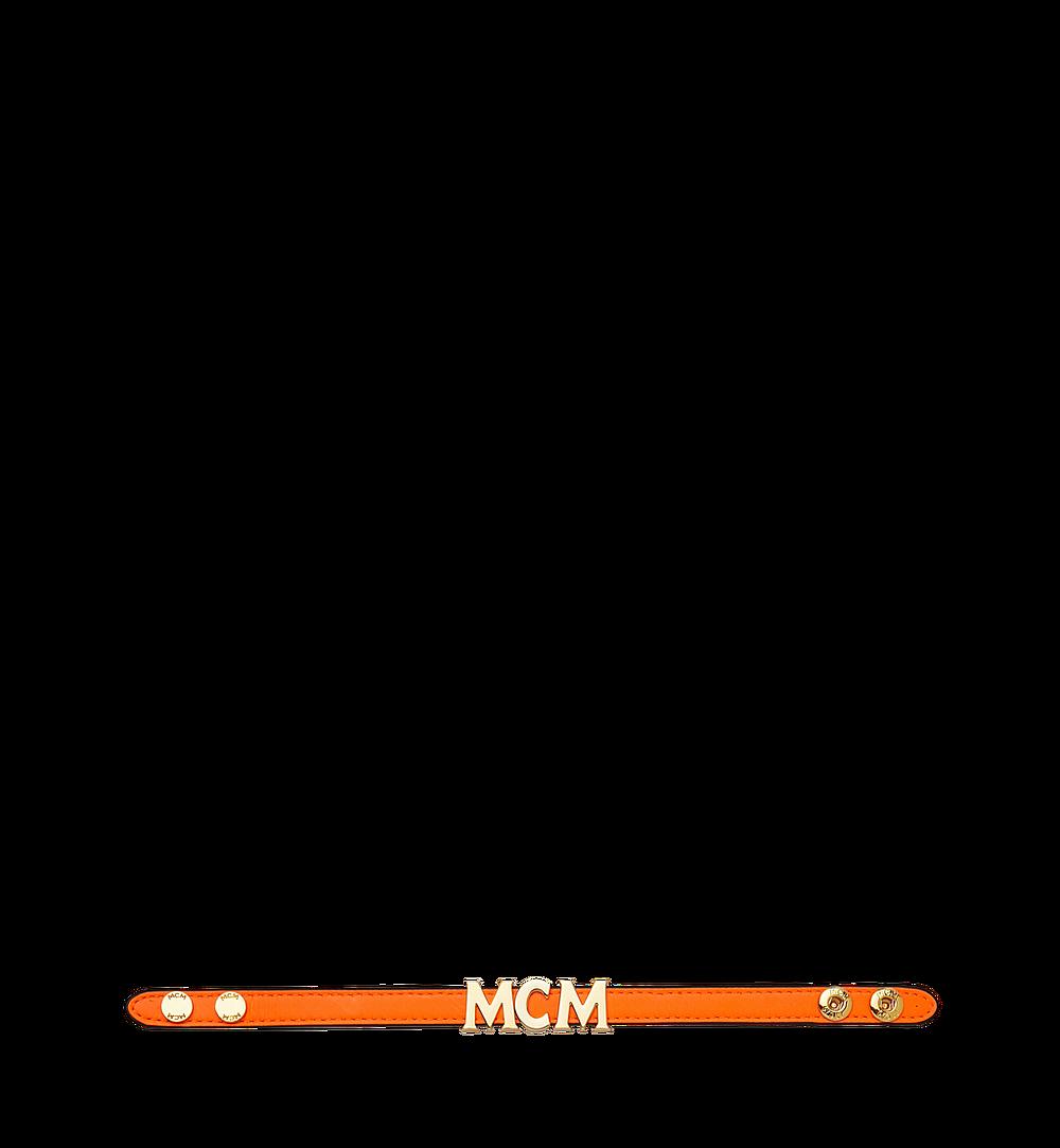 MCM Reversible Letter Bracelet in Leather Orange MEZ9SMM04OW001 Alternate View 2