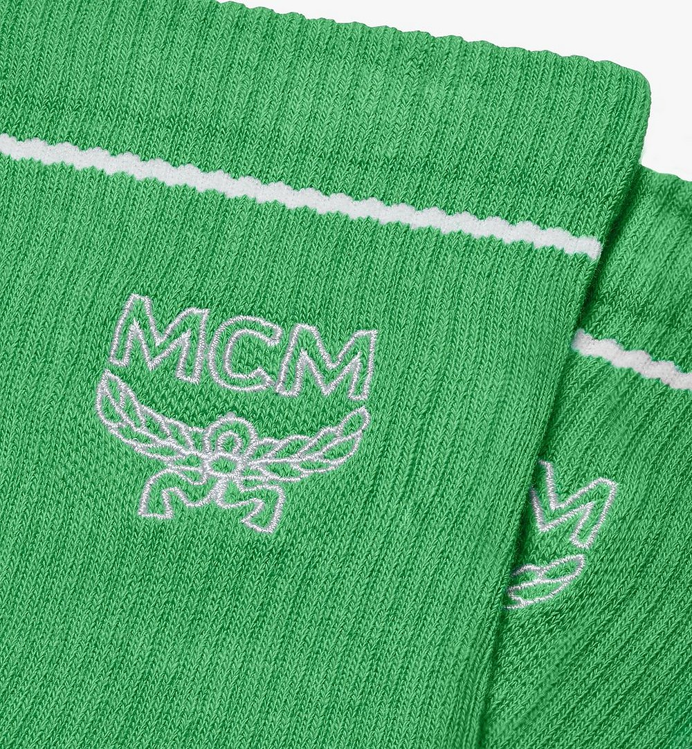 MCM Classic Logo Cotton Socks Green MEZASBM01GR0ML Alternate View 1