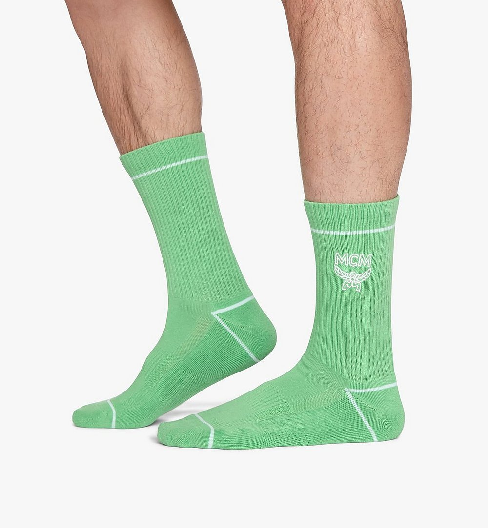 MCM Classic Logo Cotton Socks Green MEZASBM01GR0ML Alternate View 2