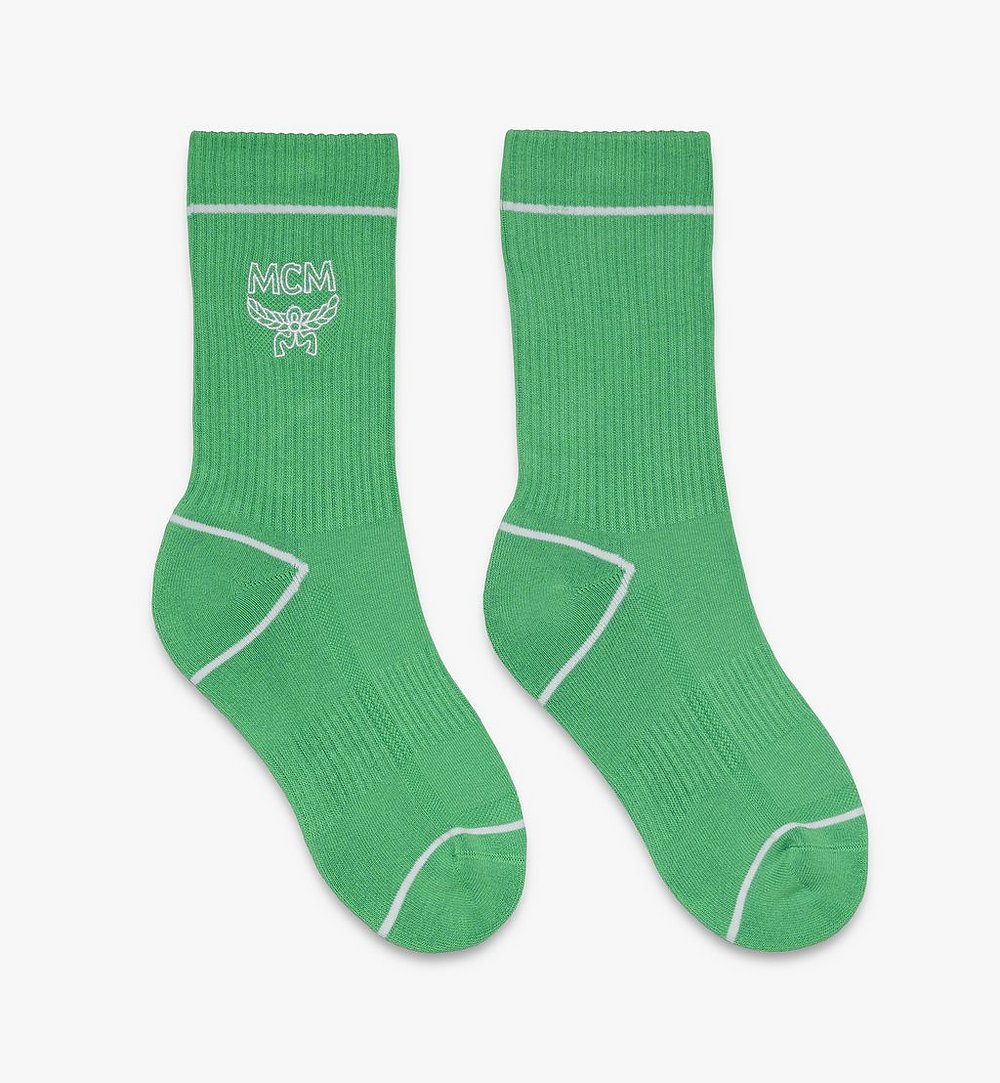 MCM Classic Logo Cotton Socks Green MEZASBM01GR0SM Alternate View 1