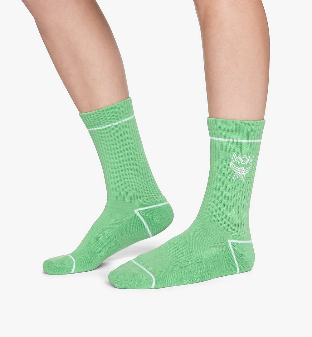 MCM Classic Logo Cotton Socks Green MEZASBM01GR0SM Alternate View 2