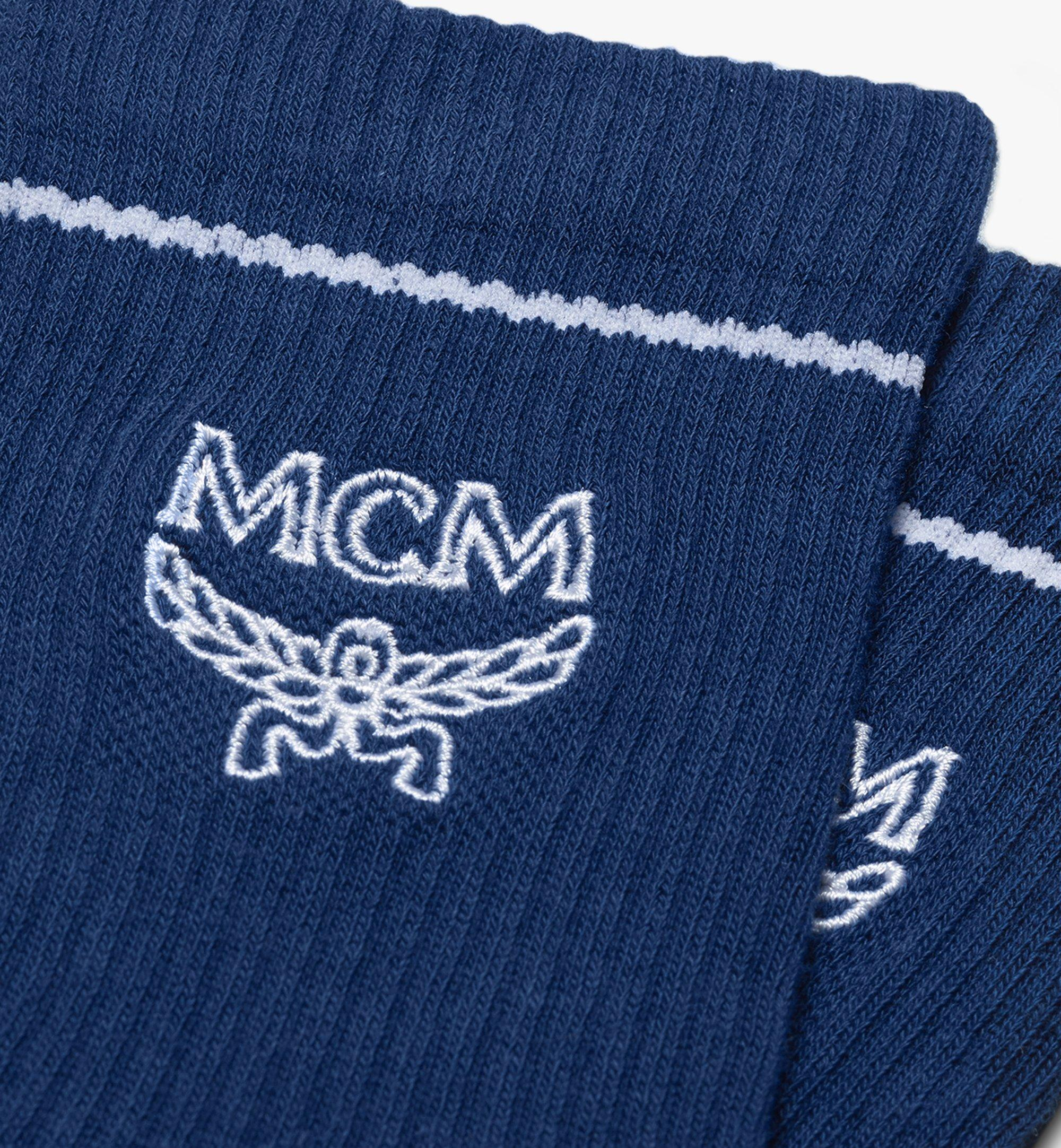 MCM Classic Logo Cotton Socks Blue MEZASBM01LU0ML Alternate View 1