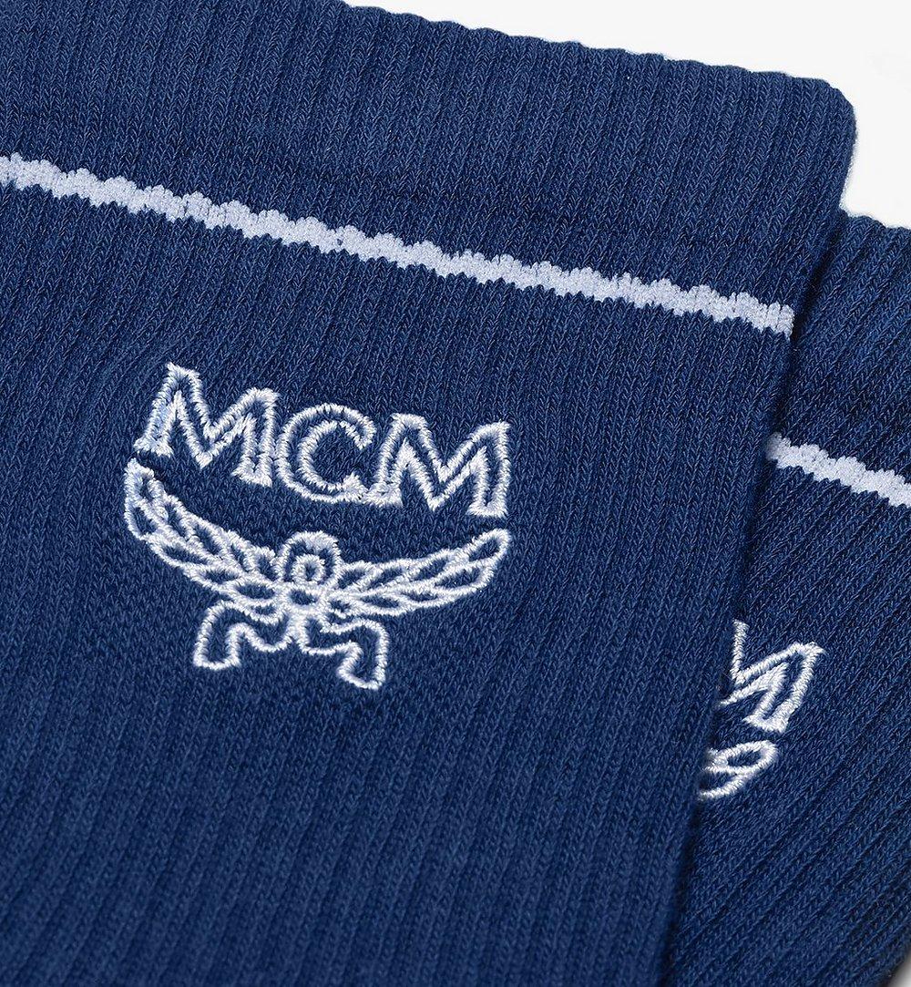 MCM Classic Logo Cotton Socks Blue MEZASBM01LU0SM Alternate View 1