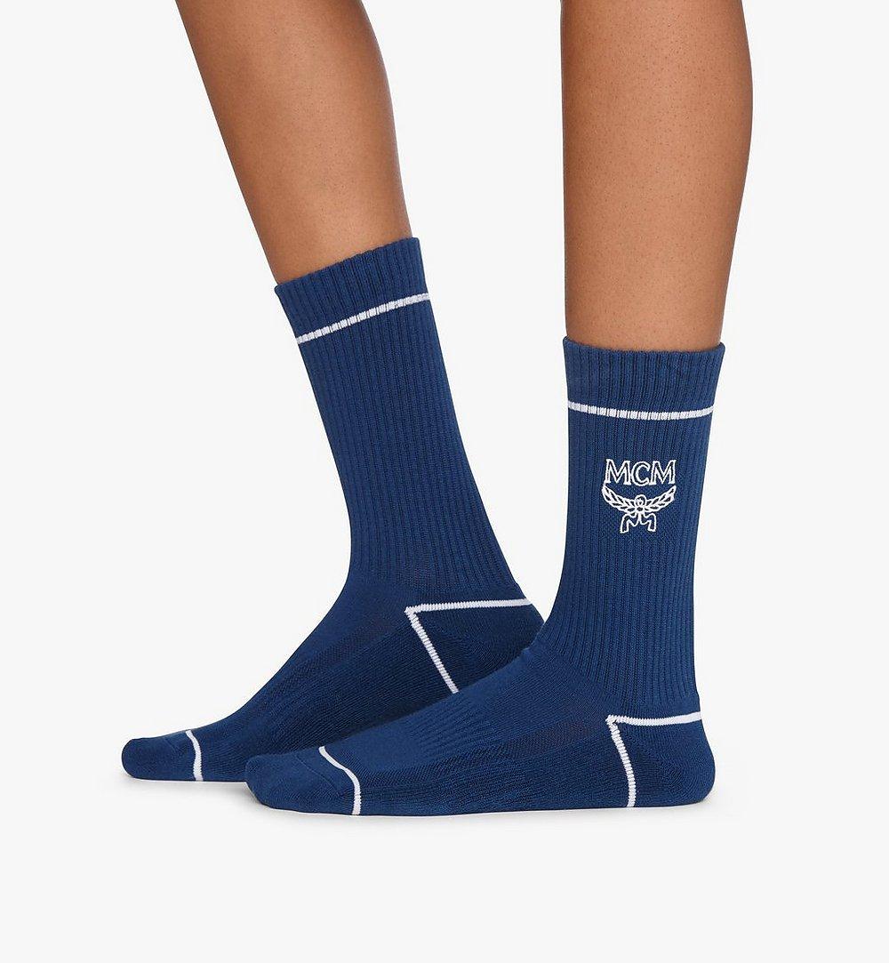 MCM Classic Logo Cotton Socks Blue MEZASBM01LU0SM Alternate View 2