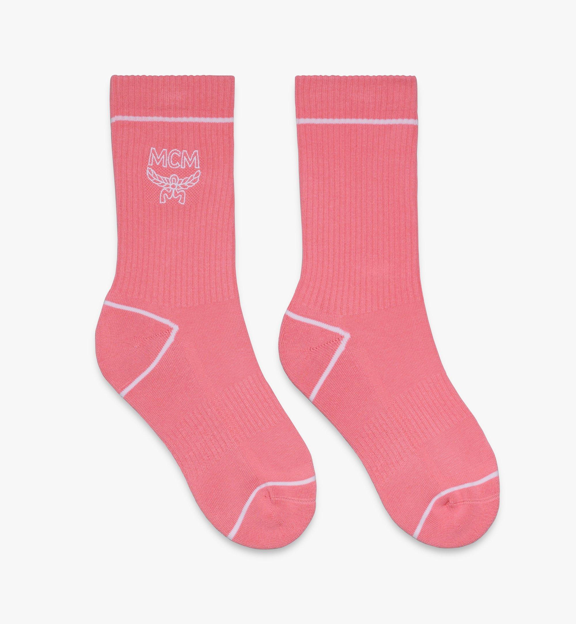 MCM Classic Logo Cotton Socks Pink MEZASBM01PK0ML Alternate View 1